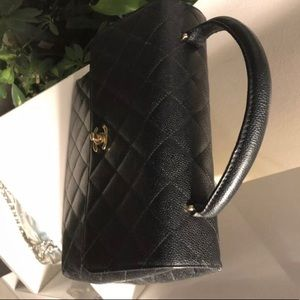 """CHANEL Bags - Authentic CHANEL black caviar leather """"Kelly"""" Bag"""